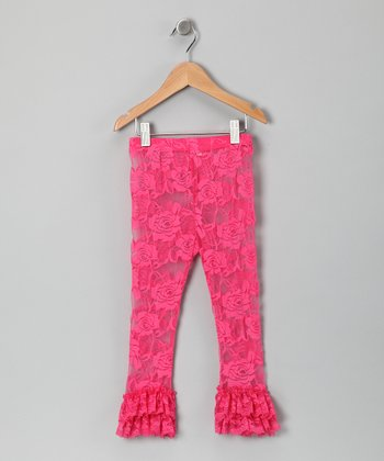 Hot Pink Lace Ruffle Leggings - Infant, Toddler & Girls