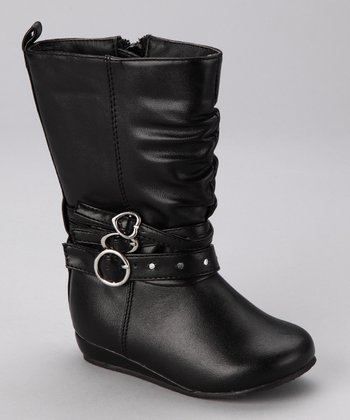 Black Heart Buckle Boot