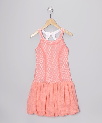 Coral Drop-Waist Bubble Dress