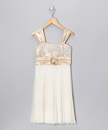 Gold Sequin Pleated Dress