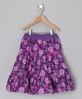 Purple Floral Tiered Skirt