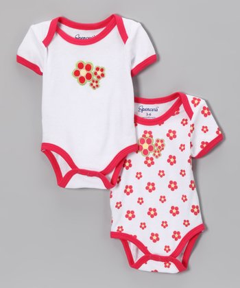 Spencer's Hot Pink Flower Bodysuit Set - Infant
