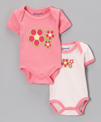 Spencer's Light Pink Flower Bodysuit Set - Infant