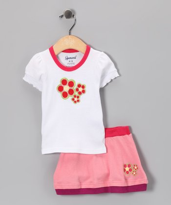 Spencer's Hot Pink Flower Tee & Skirt - Infant