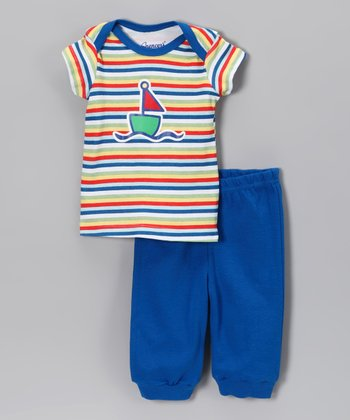 Blue Stripe Sailboat Tee & Pants - Infant