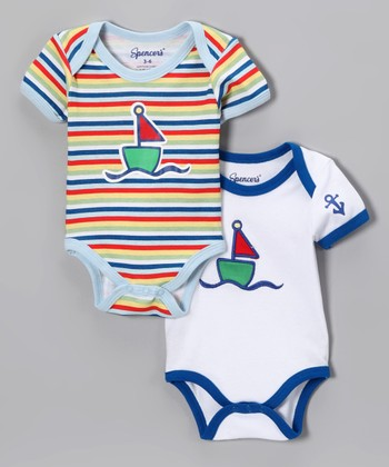 White Sailboat Bodysuit Set - Infant