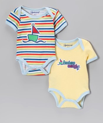 Spencer's Yellow 'Anchors Aweigh' Bodysuit Set - Infant