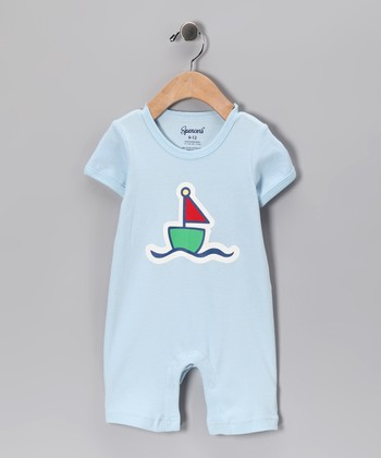 Light Blue Sailboat Romper - Infant