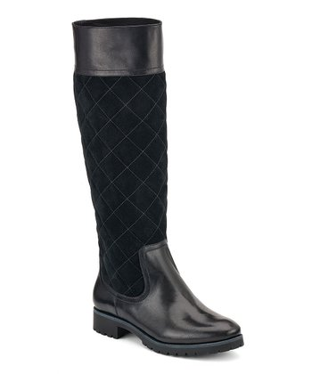 Black Suede Quilted Essex Boot
