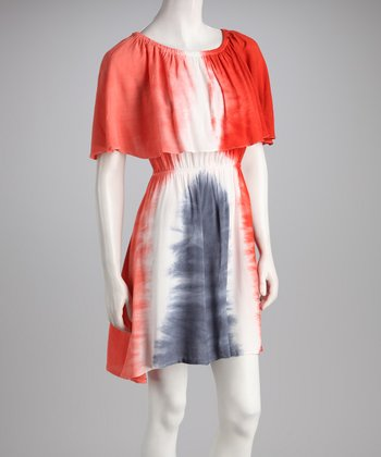Red & Navy Tie-Dye Dress
