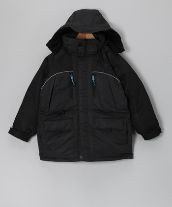 Charcoal & Black Parka - Boys