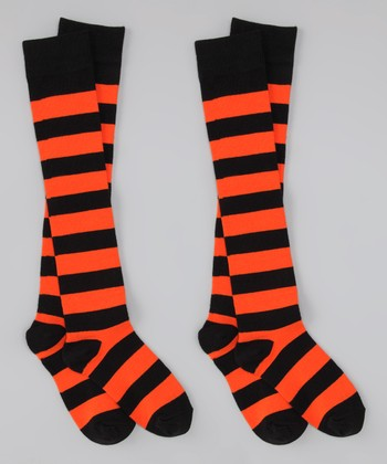 Black & Orange Stripe Knee-High Socks Set