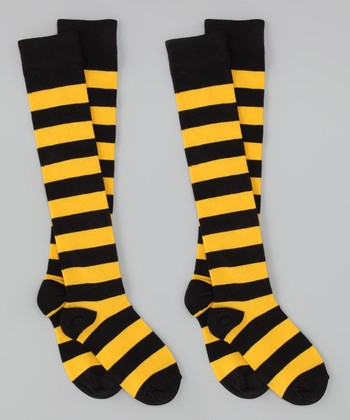 Black & Gold Stripe Knee-High Socks Set