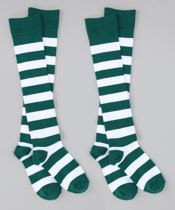 Green & White Stripe Knee-High Socks Set