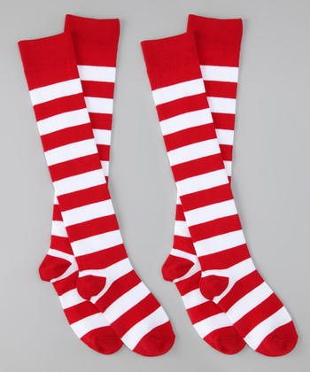 Red & White Stripe Knee-High Socks Set