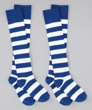 Royal Blue & White Stripe Knee-High Socks Set