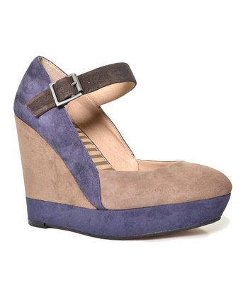 Latte & Purple Color Block Larabee Mary Jane Wedge