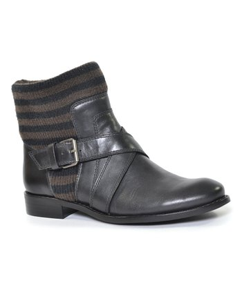 Black Stripe Knit Collar Toronto Ankle Boot