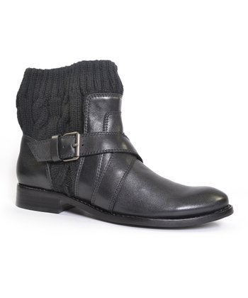 Black Knit Collar Toronto Ankle Boot