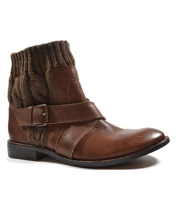 Walnut Knit Collar Toronto Ankle Boot