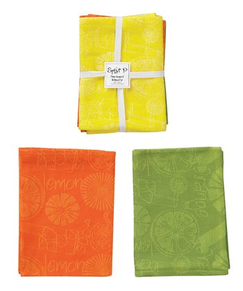 Citrus Drinks Jacquard Dish Towel Set