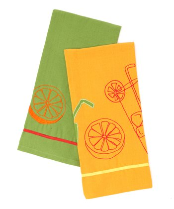 Citrus Embroidered Dish Towel Set