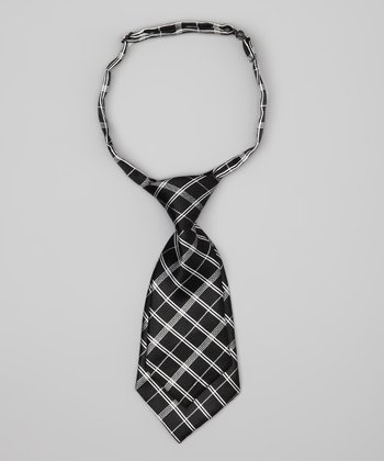 Black & Gray Plaid Adjustable Tie