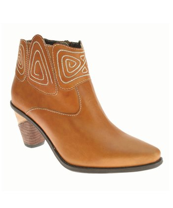 Camel Leather Gamer Cowboy Bootie