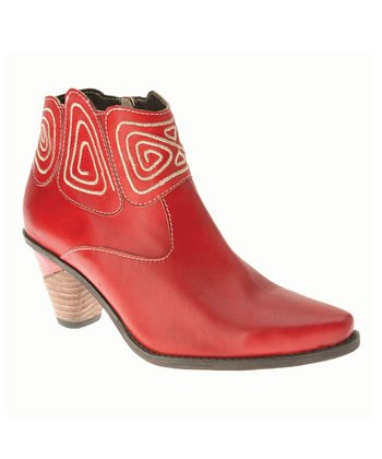 Red Leather Gamer Bootie