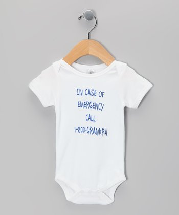 White '1-800-Grandpa' Organic Bodysuit - Infant