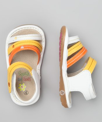 Yellow & White Heartstring Squeaker Sandal
