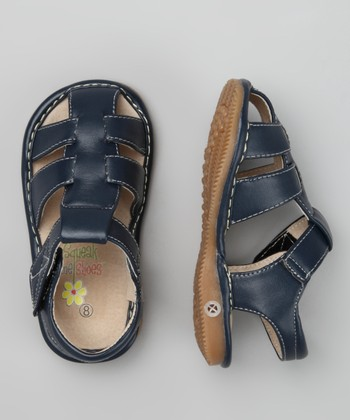 Navy Blue Squeaker Closed-Toe Sandal