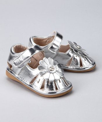 Silver Metal Reese Closed-Toe Squeaker Sandal
