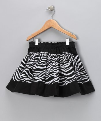 Black & White Zebra Twirly Skirt - Infant, Toddler & Girls