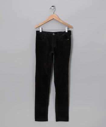 Black Wale Corduroy Skinny Pants - Girls