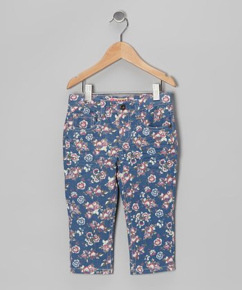 Red Floral Denim Capri Pants - Toddler & Girls