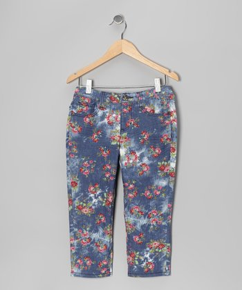 Pink & Green Floral Denim Capri Pants - Girls