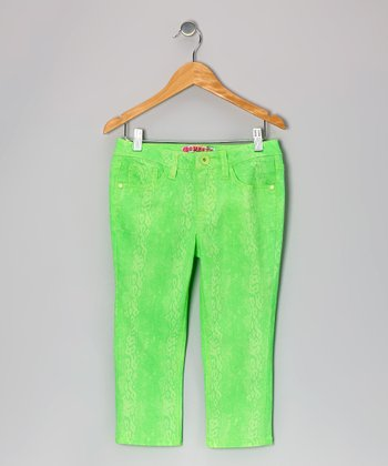 Green Neon Snakeskin Capri Pants - Toddler & Girls