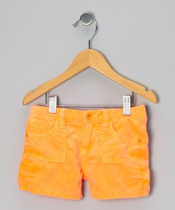 Orange Corduroy Shorts - Girls