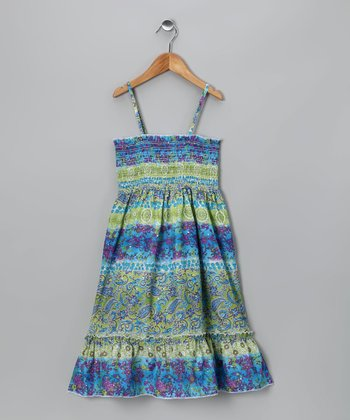 Green & Blue Paisley Convertible Dress