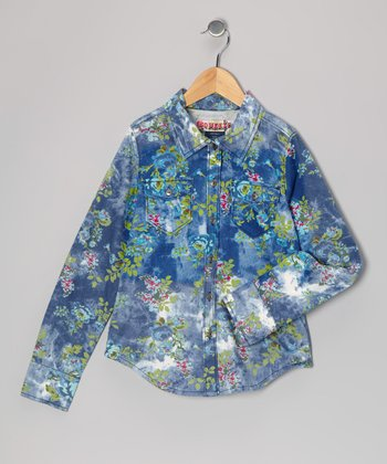 Blue & Green Floral Denim Tie-Dye Shirt - Girls