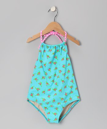 Aqua Rosebud Carter One-Piece - Girls