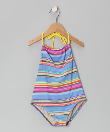 Blue Fruity Stripe Carter One-Piece - Girls