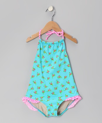 Aqua Rosebud Ruffle Carter One-Piece - Girls
