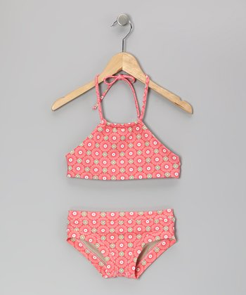 Squirtini Bikini Peach Sunburst Chase Bikini - Girls