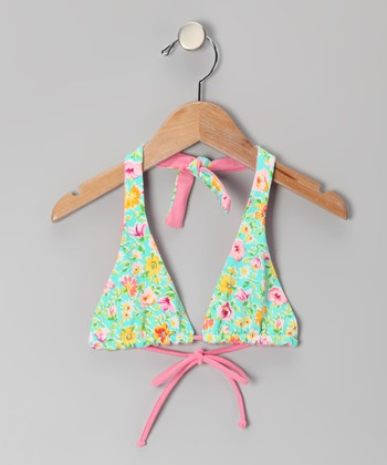 Squirtini Bikini Turquoise Stella Reversible Bikini Top - Girls
