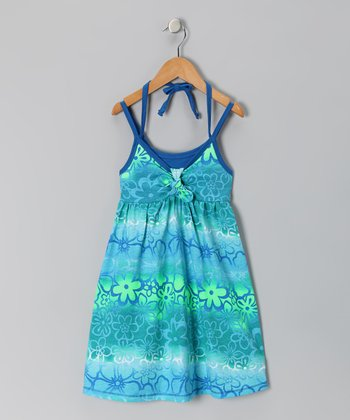 Blue Floral Tie-Dye Dress - Toddler & Girls