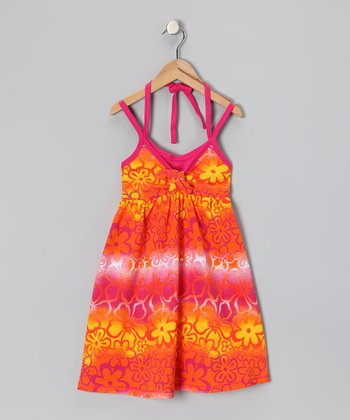Orange Floral Tie-Dye Dress - Toddler & Girls