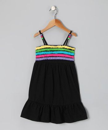 Black Ruffle Stripe Dress - Girls