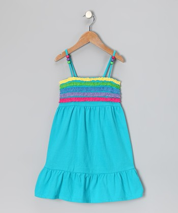 Blue Ruffle Stripe Dress - Girls